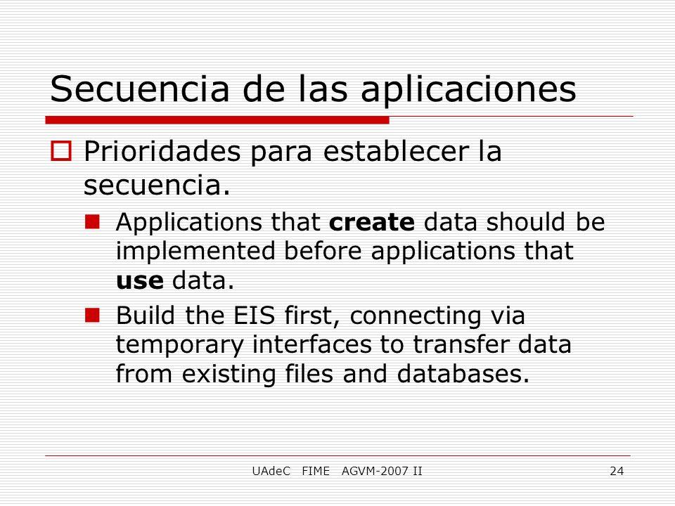 UAdeC FIME AGVM-2007 II24 Secuencia de las aplicaciones Prioridades para establecer la secuencia. Applications that create data should be implemented