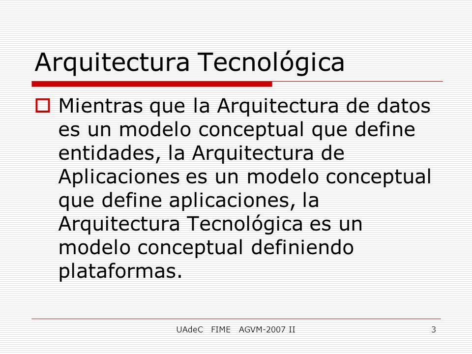 UAdeC FIME AGVM-2007 II3 Mientras que la Arquitectura de datos es un modelo conceptual que define entidades, la Arquitectura de Aplicaciones es un mod