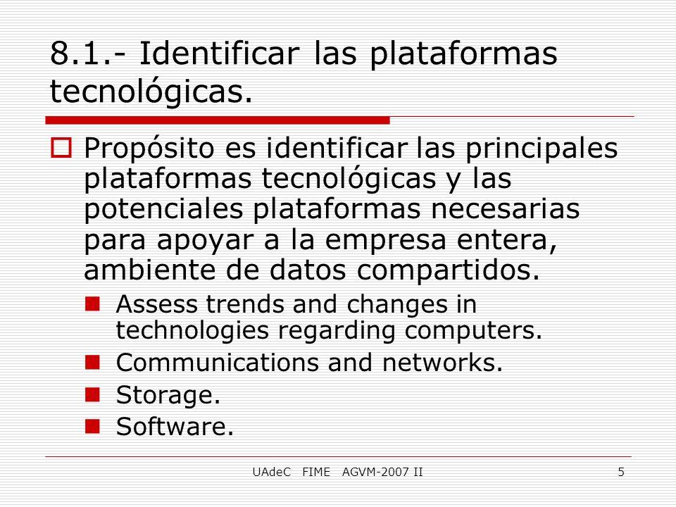 UAdeC FIME AGVM-2007 II5 8.1.- Identificar las plataformas tecnológicas. Propósito es identificar las principales plataformas tecnológicas y las poten