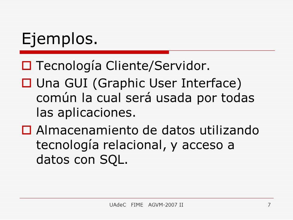 UAdeC FIME AGVM-2007 II7 Ejemplos. Tecnología Cliente/Servidor. Una GUI (Graphic User Interface) común la cual será usada por todas las aplicaciones.