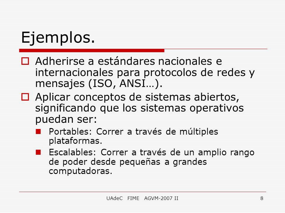 UAdeC FIME AGVM-2007 II8 Adherirse a estándares nacionales e internacionales para protocolos de redes y mensajes (ISO, ANSI…). Aplicar conceptos de si