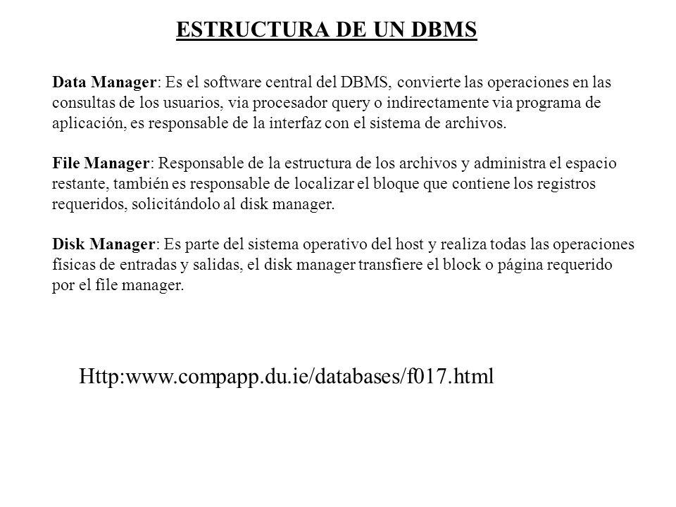 Data Manager: Es el software central del DBMS, convierte las operaciones en las consultas de los usuarios, via procesador query o indirectamente via p
