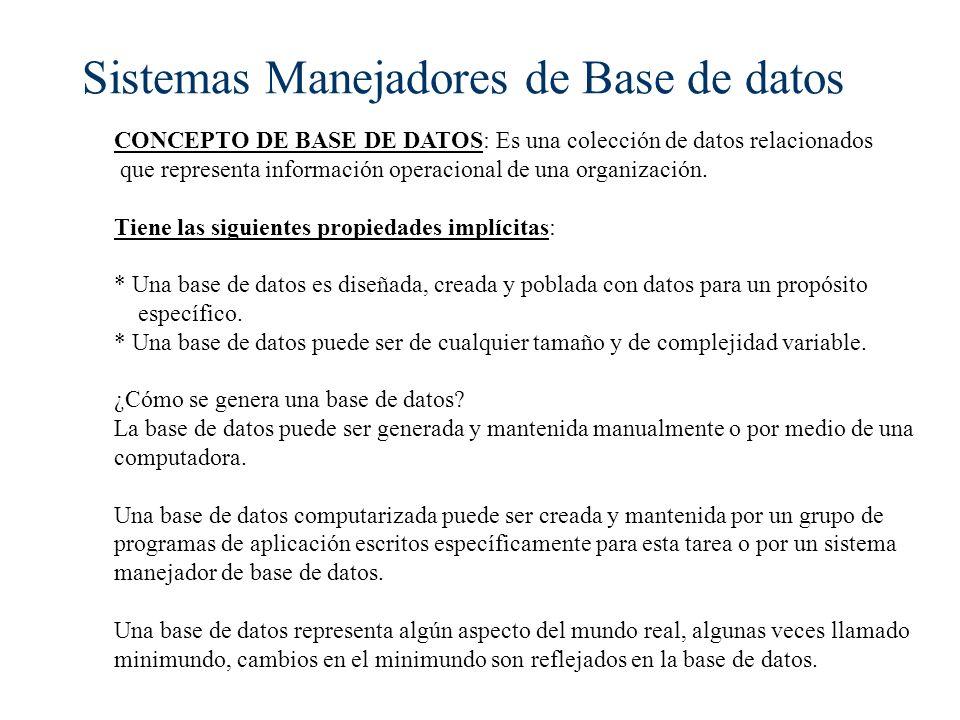 Sistemas Manejadores de Base de datos CONCEPTO DE BASE DE DATOS: Es una colección de datos relacionados que representa información operacional de una