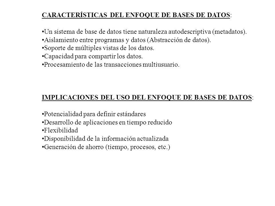 CARACTERÍSTICAS DEL ENFOQUE DE BASES DE DATOS: Un sistema de base de datos tiene naturaleza autodescriptiva (metadatos). Aislamiento entre programas y