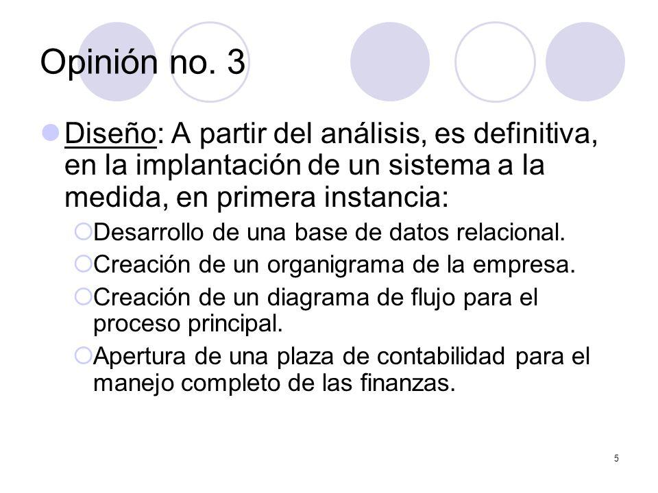 5 Diseño: A partir del análisis, es definitiva, en la implantación de un sistema a la medida, en primera instancia: Desarrollo de una base de datos relacional.