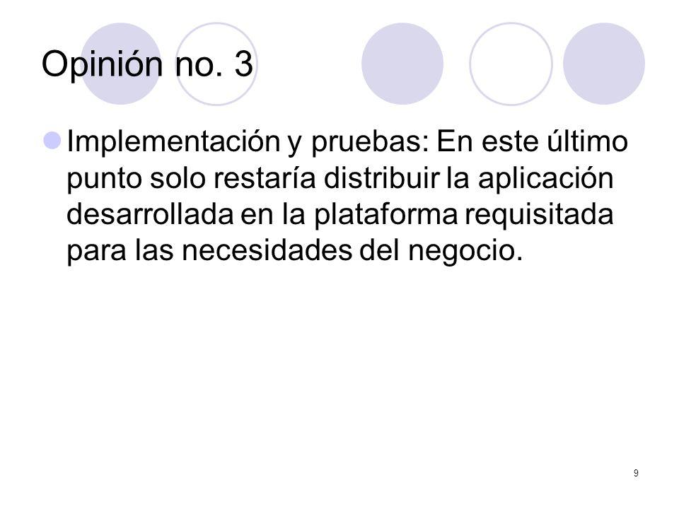 9 Implementación y pruebas: En este último punto solo restaría distribuir la aplicación desarrollada en la plataforma requisitada para las necesidades del negocio.
