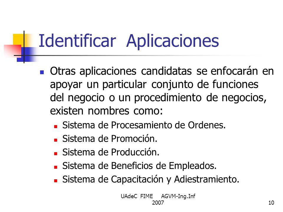 UAdeC FIME AGVM-Ing.Inf 200710 Identificar Aplicaciones Otras aplicaciones candidatas se enfocarán en apoyar un particular conjunto de funciones del n