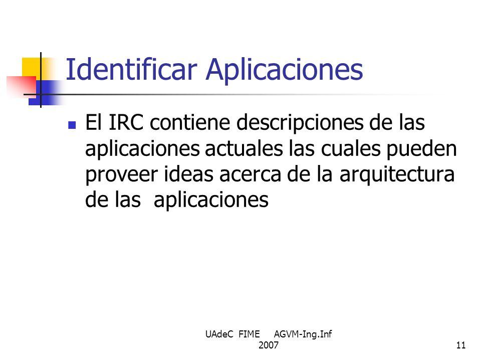 UAdeC FIME AGVM-Ing.Inf 200711 Identificar Aplicaciones El IRC contiene descripciones de las aplicaciones actuales las cuales pueden proveer ideas ace