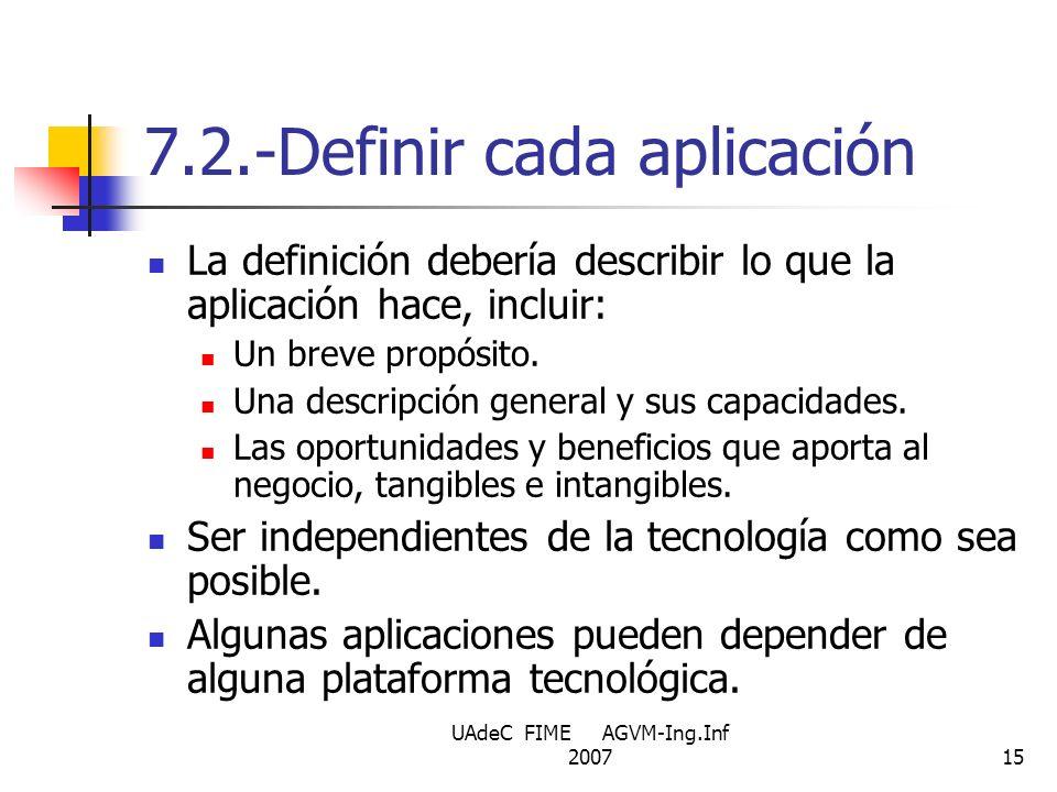 UAdeC FIME AGVM-Ing.Inf 200715 7.2.-Definir cada aplicación La definición debería describir lo que la aplicación hace, incluir: Un breve propósito. Un