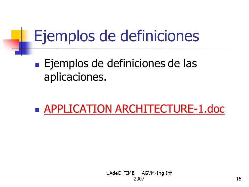 UAdeC FIME AGVM-Ing.Inf 200716 Ejemplos de definiciones Ejemplos de definiciones de las aplicaciones. APPLICATION ARCHITECTURE-1.doc