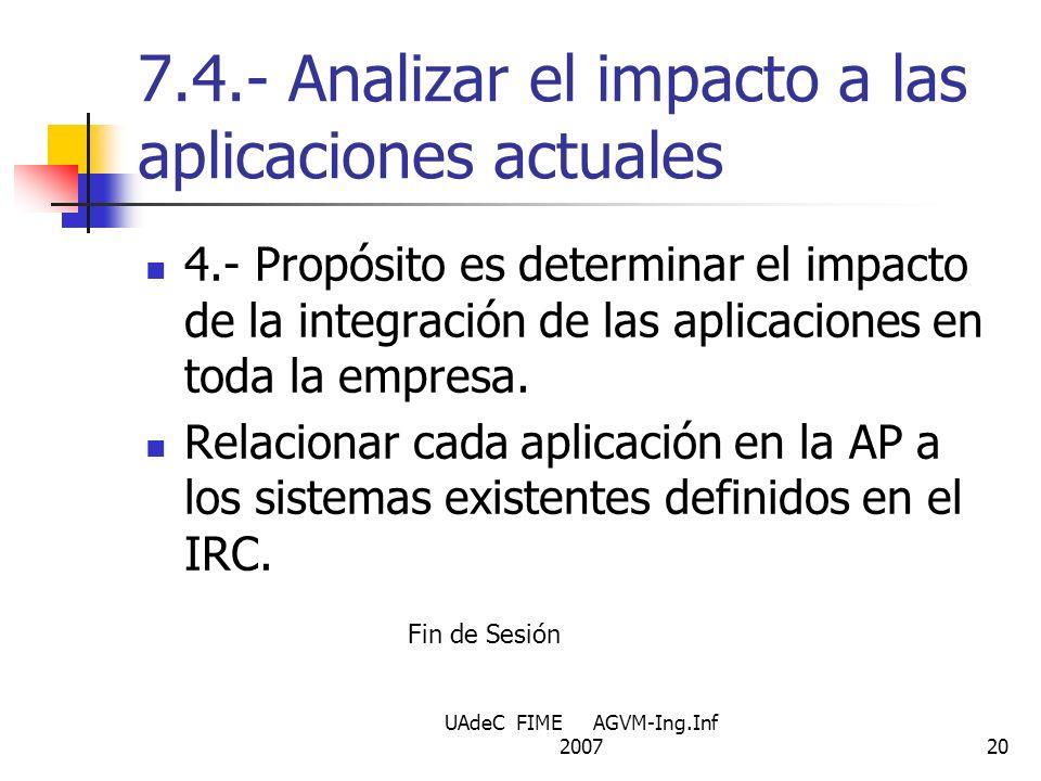 UAdeC FIME AGVM-Ing.Inf 200720 7.4.- Analizar el impacto a las aplicaciones actuales 4.- Propósito es determinar el impacto de la integración de las a