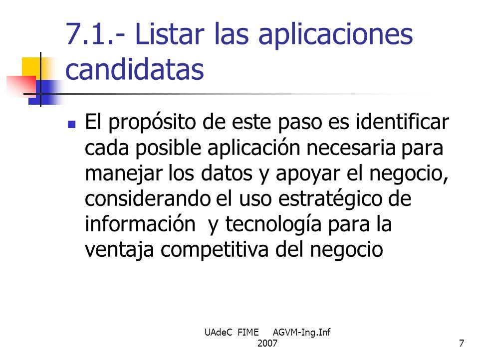 UAdeC FIME AGVM-Ing.Inf 20077 7.1.- Listar las aplicaciones candidatas El propósito de este paso es identificar cada posible aplicación necesaria para