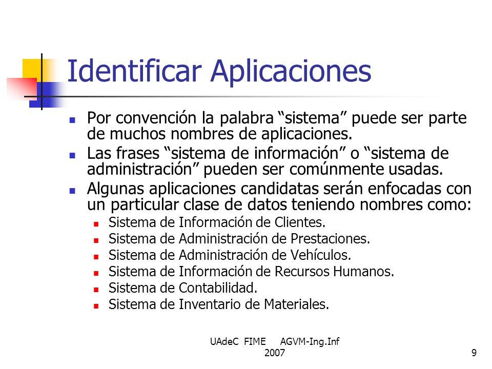 UAdeC FIME AGVM-Ing.Inf 20079 Identificar Aplicaciones Por convención la palabra sistema puede ser parte de muchos nombres de aplicaciones. Las frases