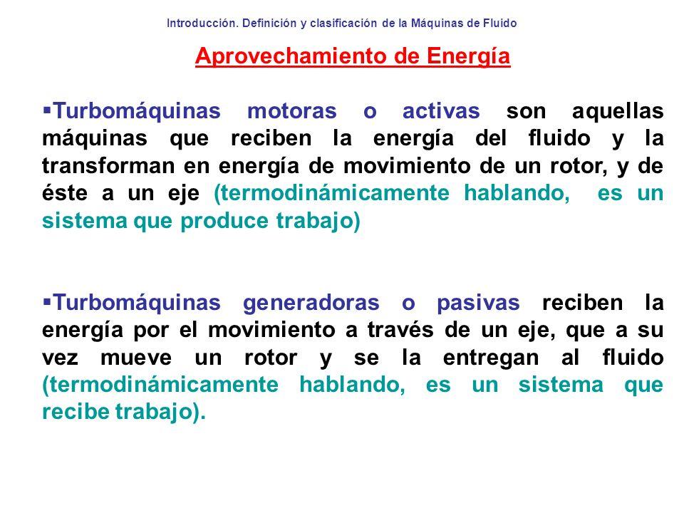 Introducción. Definición y clasificación de la Máquinas de Fluido Aprovechamiento de Energía Turbomáquinas motoras o activas son aquellas máquinas que