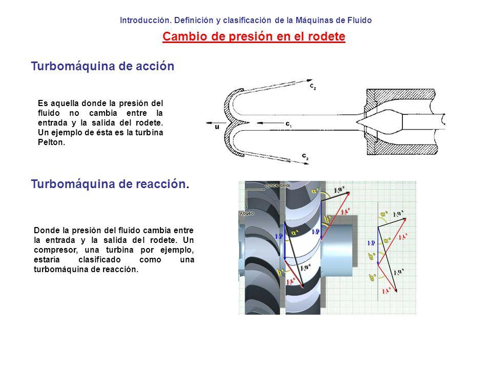 Introducción. Definición y clasificación de la Máquinas de Fluido Cambio de presión en el rodete Turbomáquina de acción Turbomáquina de reacción. Dond