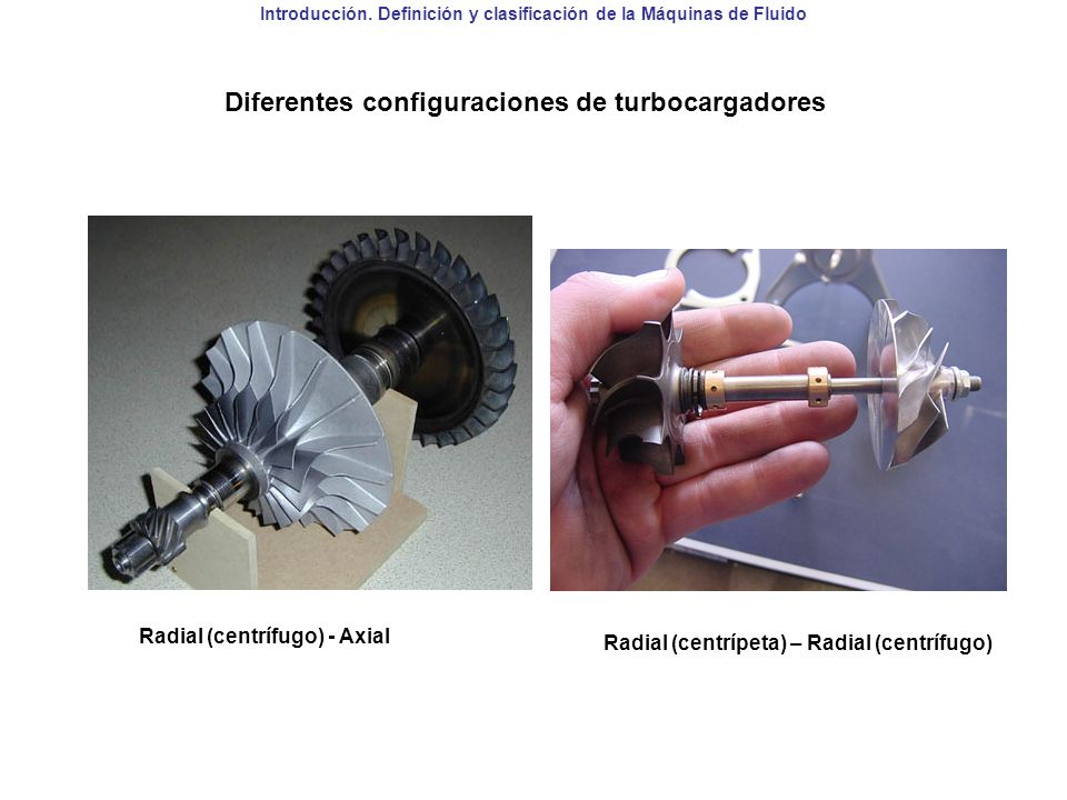 Introducción. Definición y clasificación de la Máquinas de Fluido Diferentes configuraciones de turbocargadores Radial (centrífugo) - Axial Radial (ce