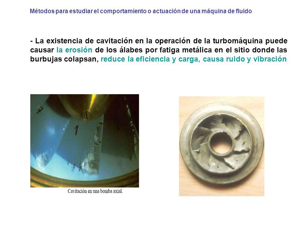 - La existencia de cavitación en la operación de la turbomáquina puede causar la erosión de los álabes por fatiga metálica en el sitio donde las burbu