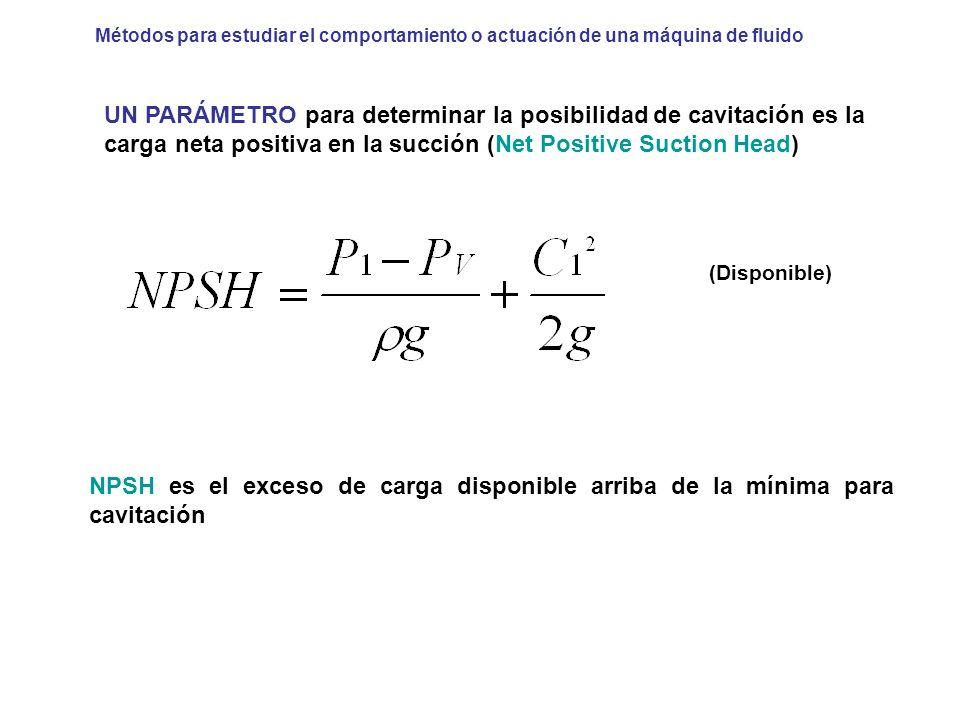 UN PARÁMETRO para determinar la posibilidad de cavitación es la carga neta positiva en la succión (Net Positive Suction Head) (Disponible) NPSH es el