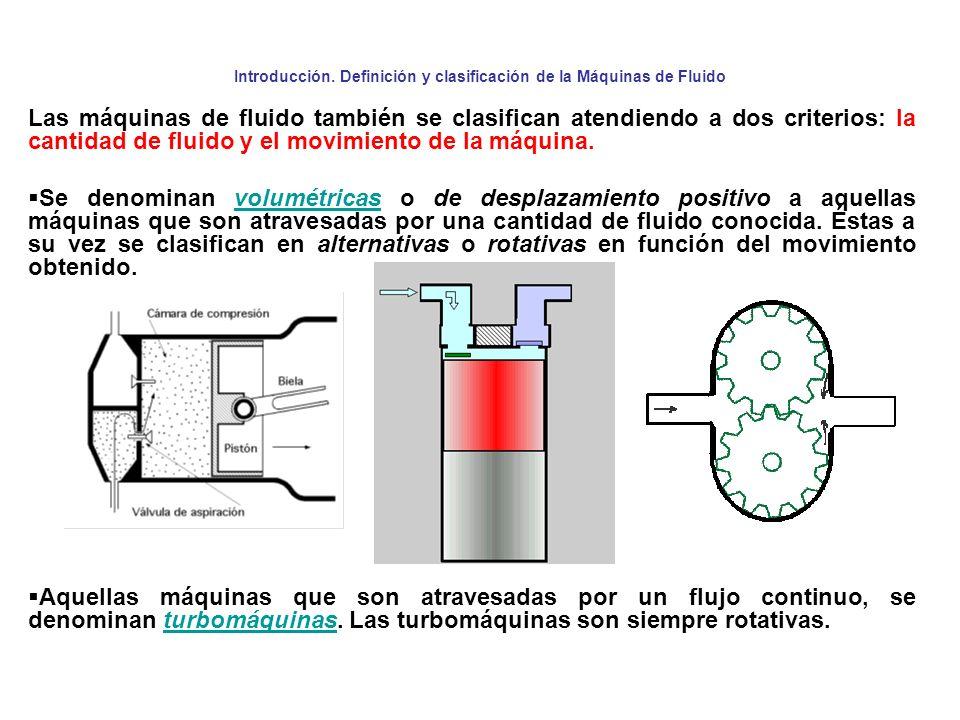 Introducción. Definición y clasificación de la Máquinas de Fluido Las máquinas de fluido también se clasifican atendiendo a dos criterios: la cantidad