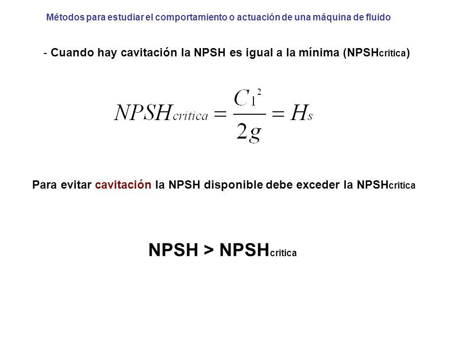Métodos para estudiar el comportamiento o actuación de una máquina de fluido Para evitar cavitación la NPSH disponible debe exceder la NPSH critica -