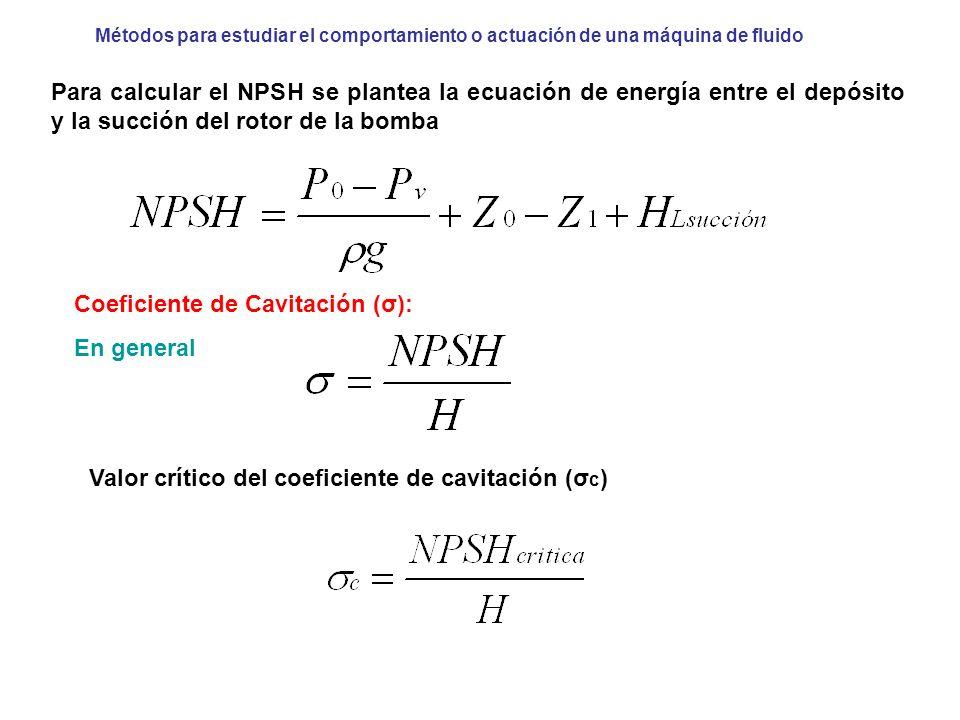 Métodos para estudiar el comportamiento o actuación de una máquina de fluido Para calcular el NPSH se plantea la ecuación de energía entre el depósito