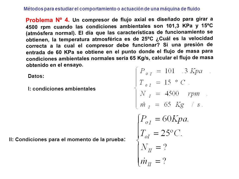 Métodos para estudiar el comportamiento o actuación de una máquina de fluido Problema Nº 4. Un compresor de flujo axial es diseñado para girar a 4500