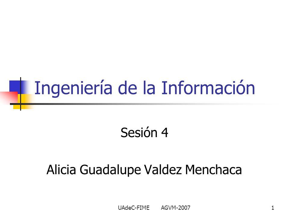 UAdeC-FIME AGVM-20071 Ingeniería de la Información Sesión 4 Alicia Guadalupe Valdez Menchaca