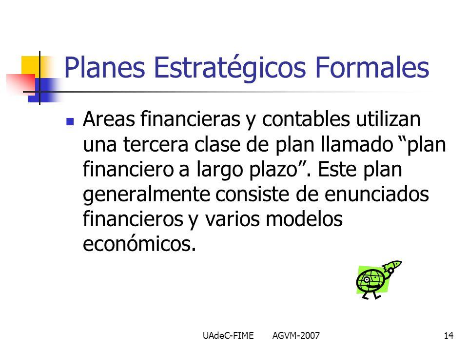 UAdeC-FIME AGVM-200714 Areas financieras y contables utilizan una tercera clase de plan llamado plan financiero a largo plazo. Este plan generalmente