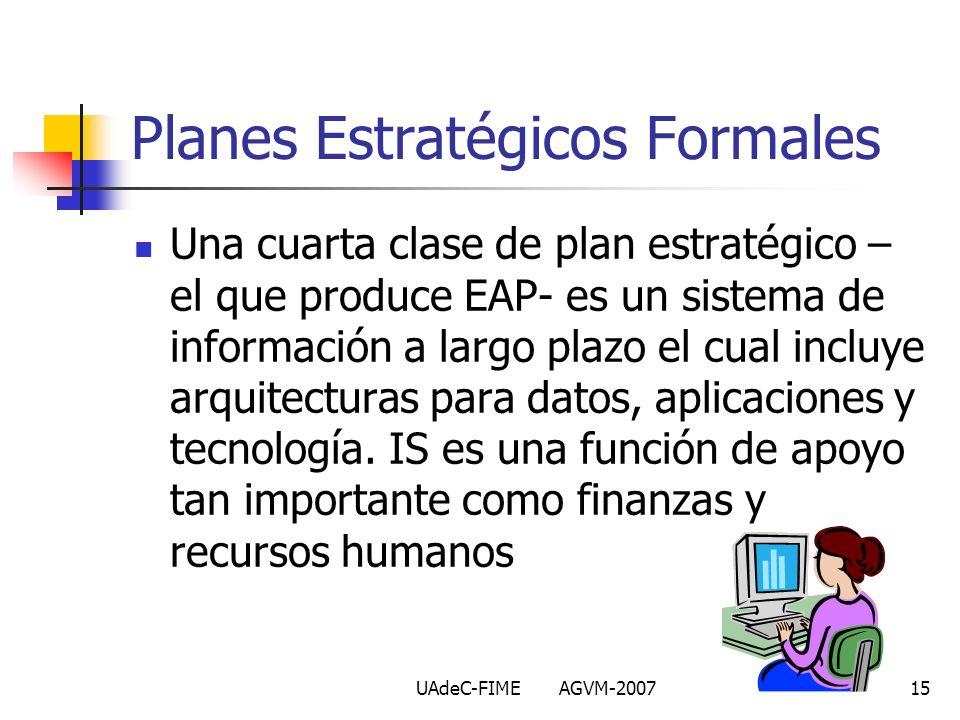 UAdeC-FIME AGVM-200715 Una cuarta clase de plan estratégico – el que produce EAP- es un sistema de información a largo plazo el cual incluye arquitect