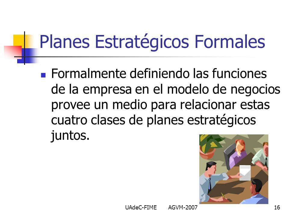 UAdeC-FIME AGVM-200716 Formalmente definiendo las funciones de la empresa en el modelo de negocios provee un medio para relacionar estas cuatro clases