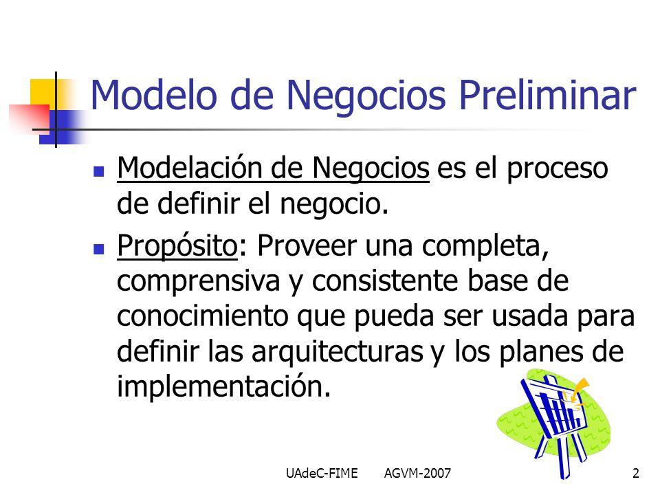 UAdeC-FIME AGVM-20072 Modelo de Negocios Preliminar Modelación de Negocios es el proceso de definir el negocio. Propósito: Proveer una completa, compr