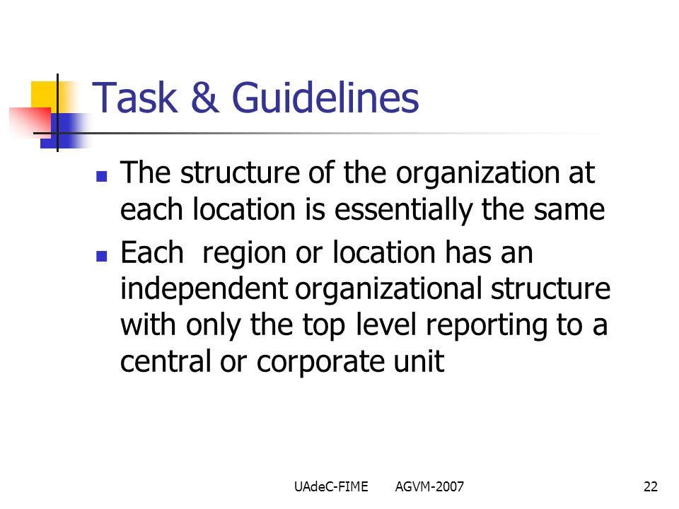 UAdeC-FIME AGVM-200722 The structure of the organization at each location is essentially the same Each region or location has an independent organizat