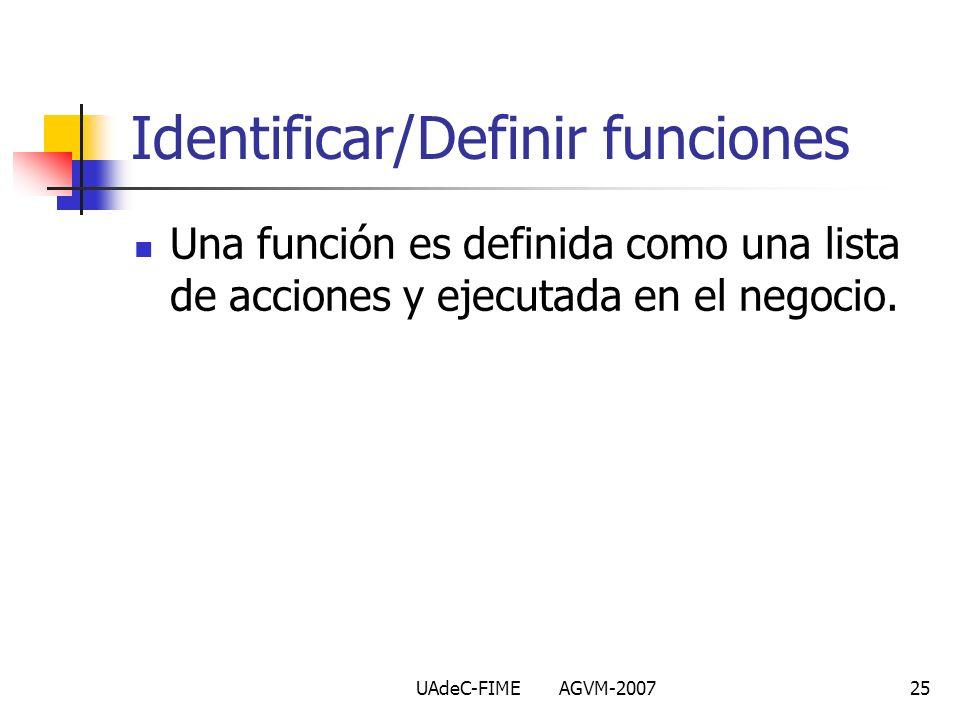 UAdeC-FIME AGVM-200725 Identificar/Definir funciones Una función es definida como una lista de acciones y ejecutada en el negocio.
