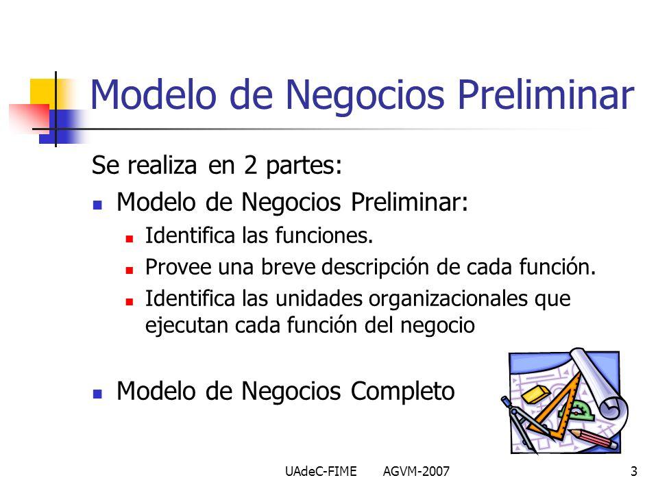UAdeC-FIME AGVM-20073 Se realiza en 2 partes: Modelo de Negocios Preliminar: Identifica las funciones. Provee una breve descripción de cada función. I