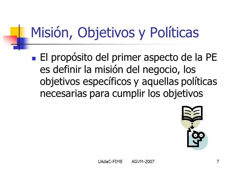 UAdeC-FIME AGVM-20077 Misión, Objetivos y Políticas El propósito del primer aspecto de la PE es definir la misión del negocio, los objetivos específic