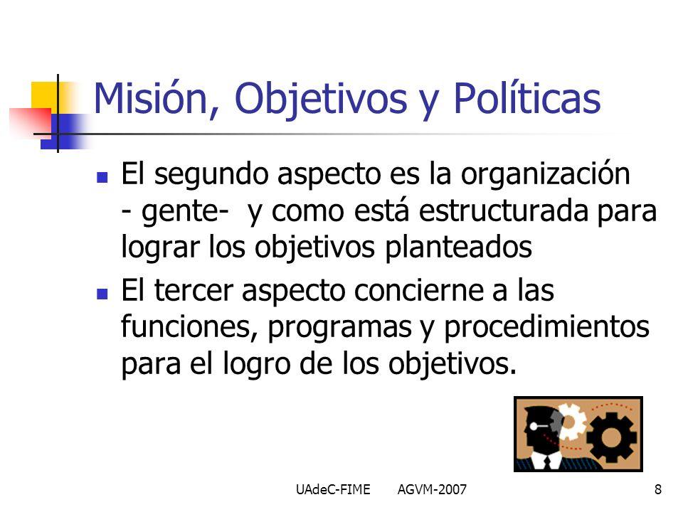 UAdeC-FIME AGVM-20078 El segundo aspecto es la organización - gente- y como está estructurada para lograr los objetivos planteados El tercer aspecto c