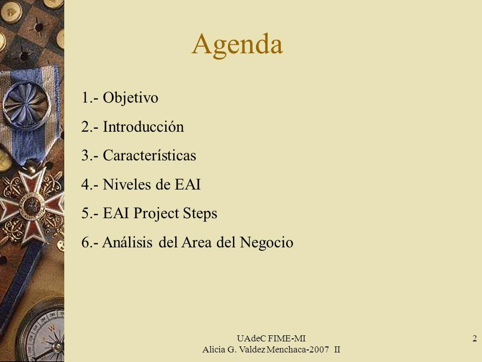 UAdeC FIME-MI Alicia G. Valdez Menchaca-2007 II 2 Agenda 1.- Objetivo 2.- Introducción 3.- Características 4.- Niveles de EAI 5.- EAI Project Steps 6.