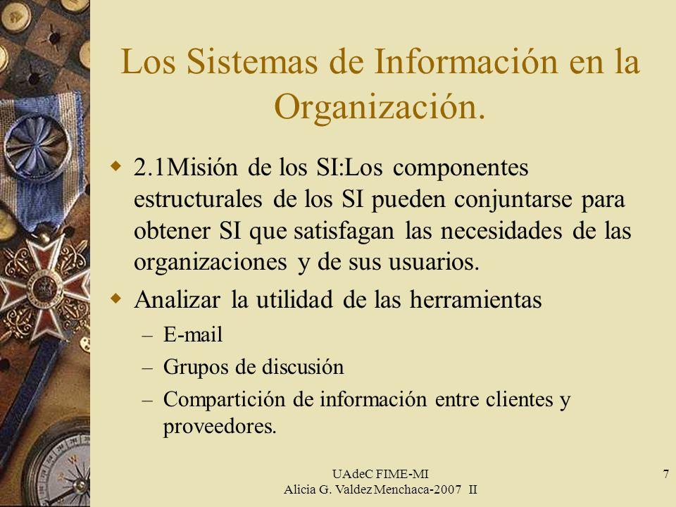UAdeC FIME-MI Alicia G. Valdez Menchaca-2007 II 7 Los Sistemas de Información en la Organización.