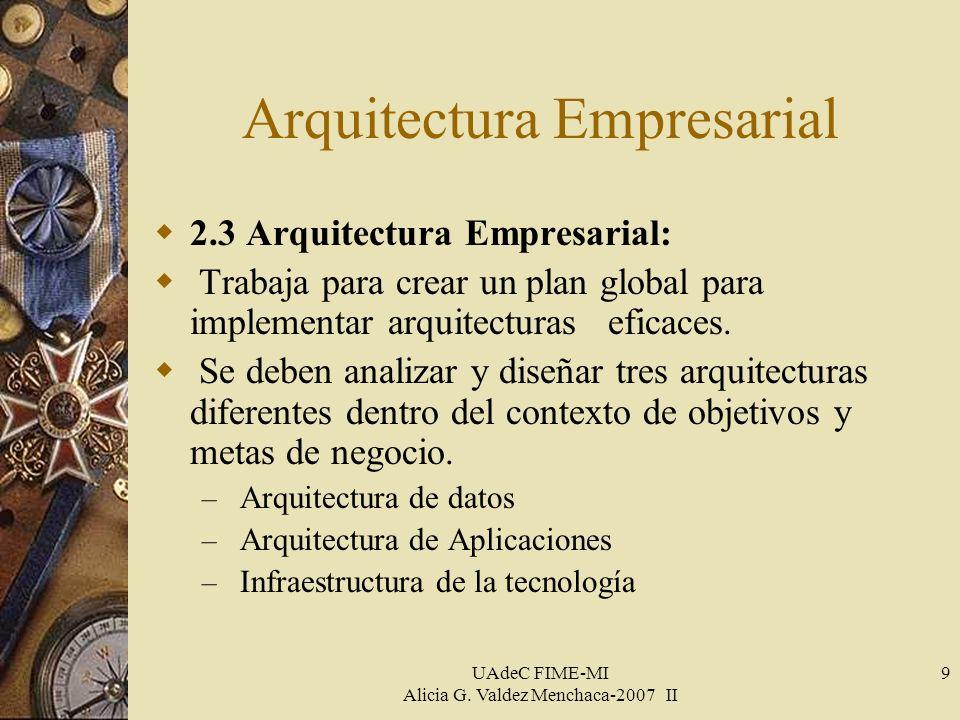 UAdeC FIME-MI Alicia G. Valdez Menchaca-2007 II 9 Arquitectura Empresarial 2.3 Arquitectura Empresarial: Trabaja para crear un plan global para implem