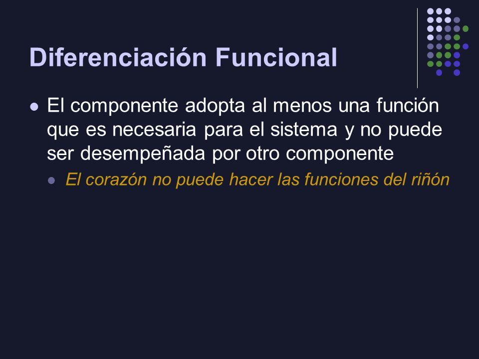 Diferenciación Funcional El componente adopta al menos una función que es necesaria para el sistema y no puede ser desempeñada por otro componente El corazón no puede hacer las funciones del riñón