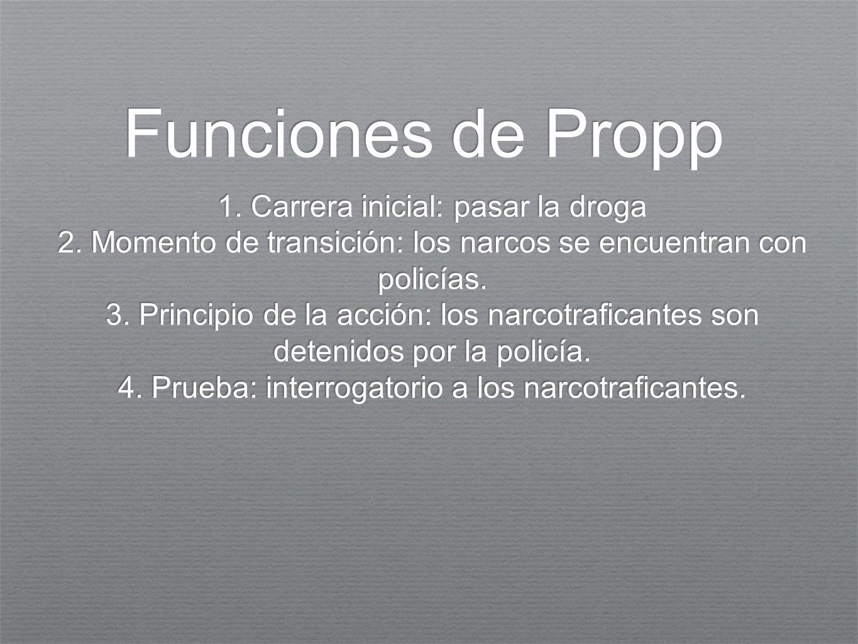 Funciones de Propp 1. Carrera inicial: pasar la droga 2.