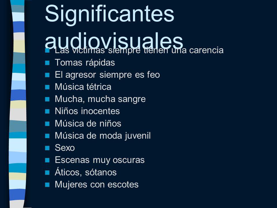 Significantes audiovisuales Las victimas siempre tienen una carencia Tomas rápidas El agresor siempre es feo Música tétrica Mucha, mucha sangre Niños