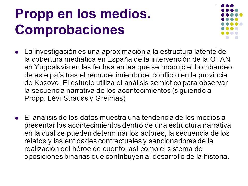 Propp en los medios. Comprobaciones La investigación es una aproximación a la estructura latente de la cobertura mediática en España de la intervenció
