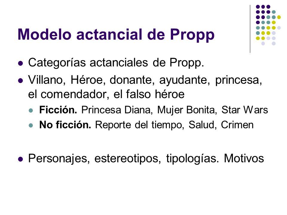 Modelo actancial de Propp Categorías actanciales de Propp. Villano, Héroe, donante, ayudante, princesa, el comendador, el falso héroe Ficción. Princes