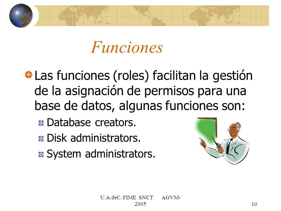 U.A.deC. FIME SNCT AGVM- 200510 Funciones Las funciones (roles) facilitan la gestión de la asignación de permisos para una base de datos, algunas func