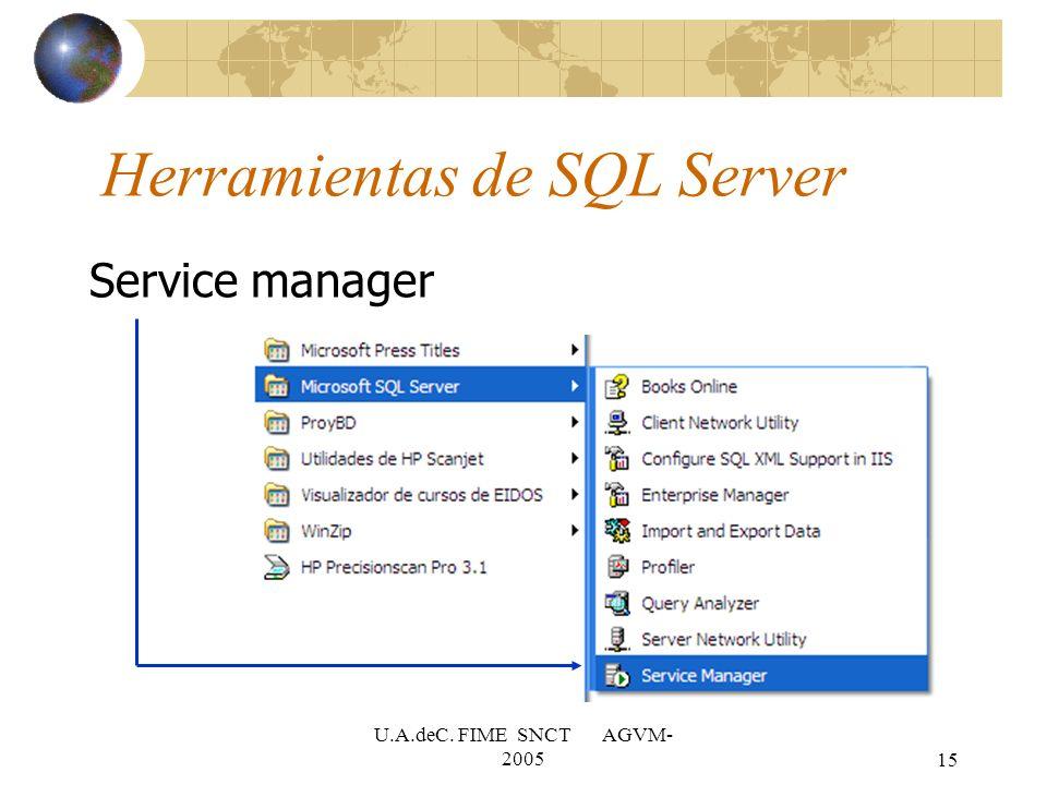 U.A.deC. FIME SNCT AGVM- 200515 Herramientas de SQL Server Service manager