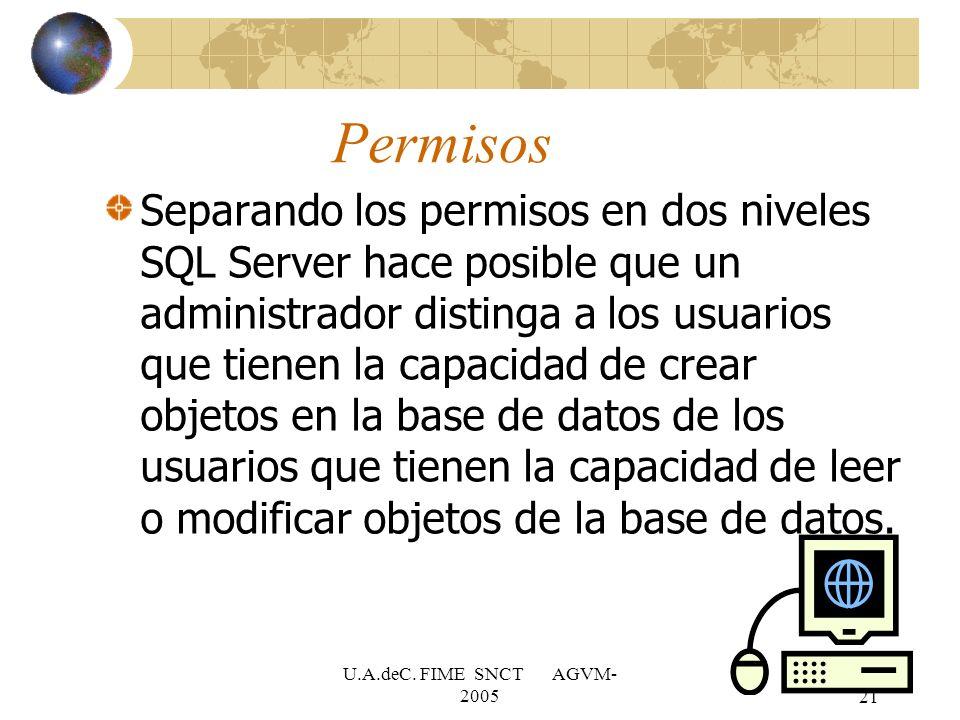 U.A.deC. FIME SNCT AGVM- 200521 Permisos Separando los permisos en dos niveles SQL Server hace posible que un administrador distinga a los usuarios qu
