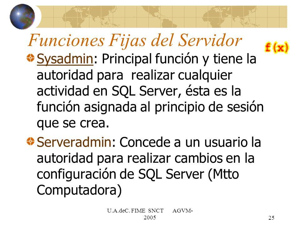 U.A.deC. FIME SNCT AGVM- 200525 Funciones Fijas del Servidor Sysadmin: Principal función y tiene la autoridad para realizar cualquier actividad en SQL