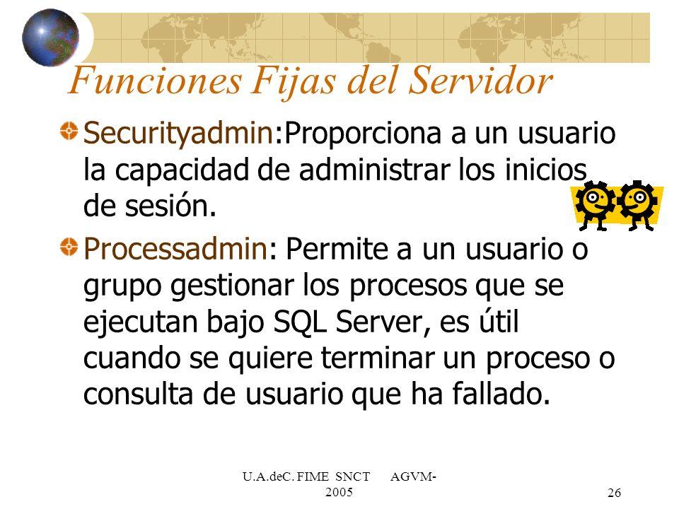 U.A.deC. FIME SNCT AGVM- 200526 Securityadmin:Proporciona a un usuario la capacidad de administrar los inicios de sesión. Processadmin: Permite a un u