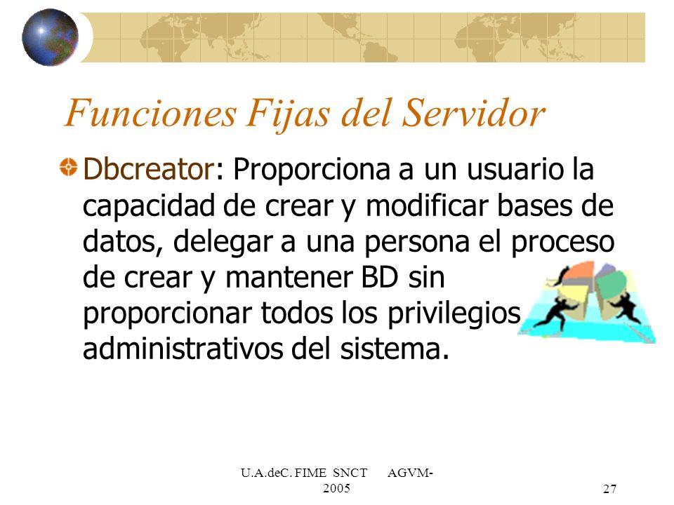 U.A.deC. FIME SNCT AGVM- 200527 Dbcreator: Proporciona a un usuario la capacidad de crear y modificar bases de datos, delegar a una persona el proceso